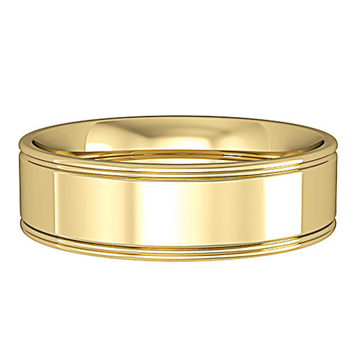 9ct Yellow Gold Ring, 6mm Essential Flat-Court with Track Edge Band Size V 22898