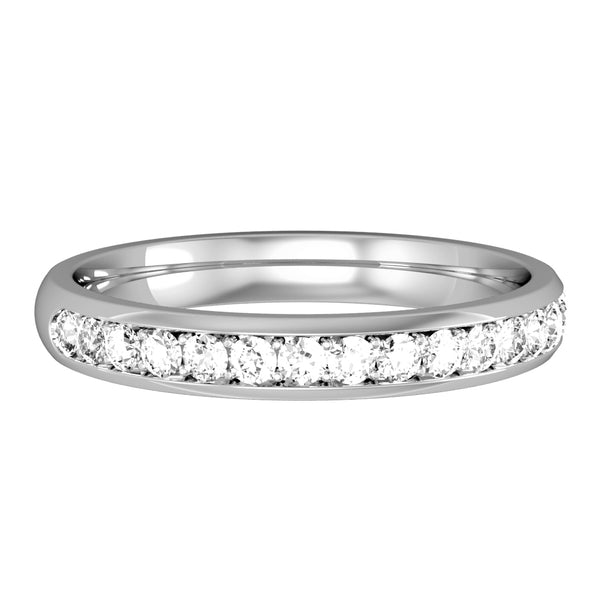 9ct White Gold Ring, Innovative micro claw setting accords a beautiful streamlined finish to these elegant half circle court rings. Round brilliant cut diamonds, 0.30ct tcw 32612