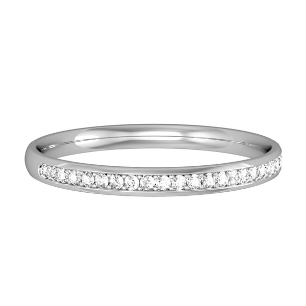 9ct White Gold Ring, Innovative micro claw setting accords a beautiful streamlined finish to these elegant half circle court rings. Round brilliant cut diamonds, 0.09ct tcw 32614