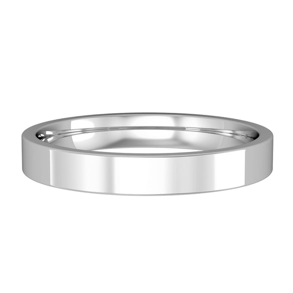 9ct White Gold Ring, Clean lines lend a contemporary look while the internal barrelling of this ring assures a comfortable fit. Individually polished by hand 32617