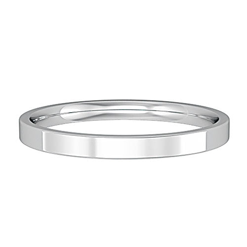 9ct White Gold Ring, 9ct white gold flat profile wedding ring. Clean lines lend a contemporary look while the internal barrelling of this ring assures a comfortable fit 32618