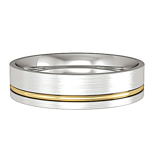 9ct White Gold Ring, Clean lines lend a contemporary look while the internal barrelling of this ring assures a comfortable fit. Satin finish with a polished offset solid yellow gold insert 32608