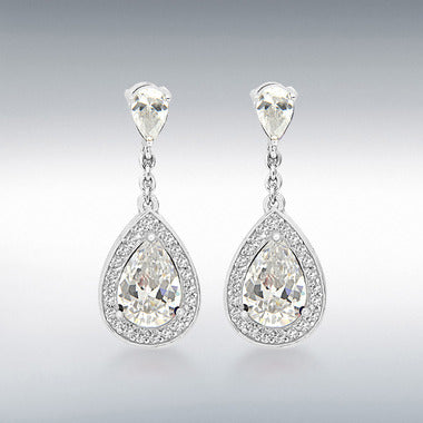 Sterling silver white CZ drop earrings 32756
