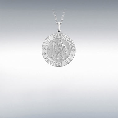 21mm round Sterling Silver St. Christopher medal 34187