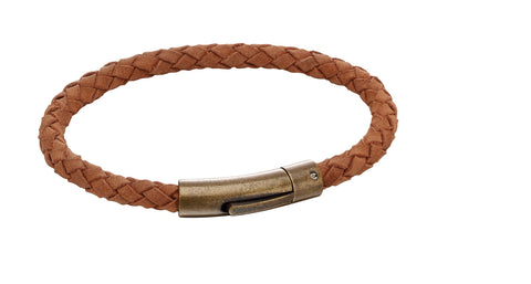 Gents Leather + Steel Bracelet 32815