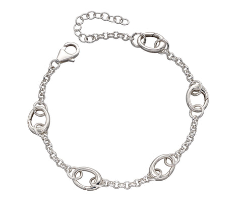 Sterling silver charm bracelet with 5 spring clip to hot swop your charms 34225