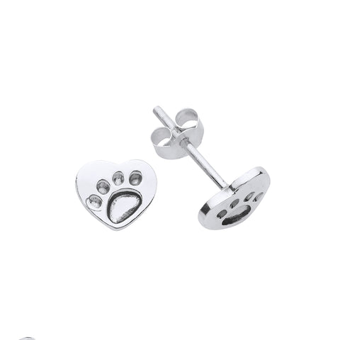 Sterling silver dog paw studs 33097