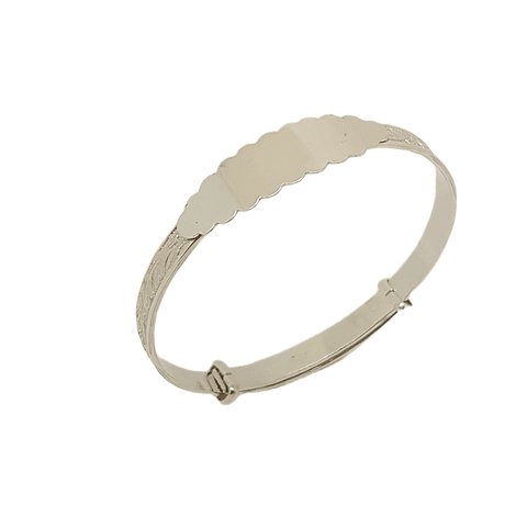 Sterling silver expanding christening ID bangle 31807
