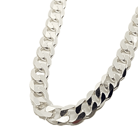 "Flat curb chain with diamond cut facets in sterling silver 24"" 34014"