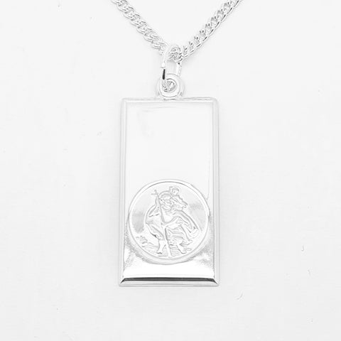 15mm x 30mm ingot style sterling silver St. Christopher medal with bevel cut edge 34235