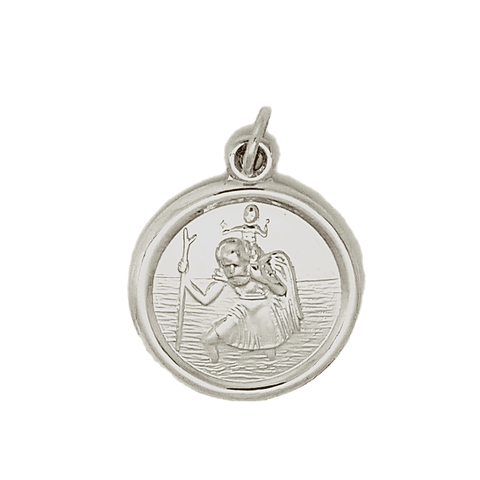 Sterling silver 22mm round polished St. Christopher medal 31808 31808