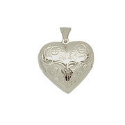 Large Heart locket with engraved pattern in sterling silver 34013