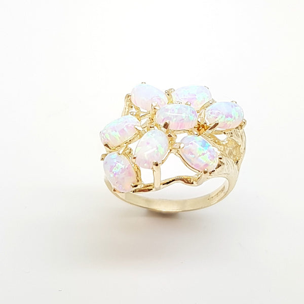 9ct Yellow Gold Syn Opal Ladys Ring 33742