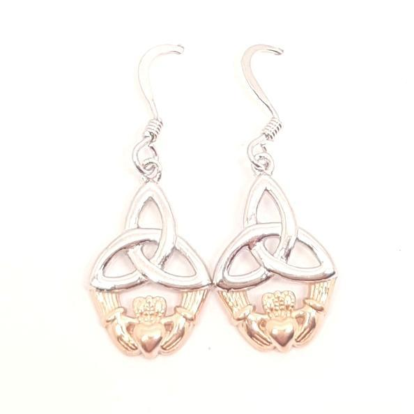 Sterling Silver Earring, Sterling silver Claddagh and Celtic Trinity knot drop earrings with Rose gold toned highlights 33392 - Armin Lowe Jewellers Sligo