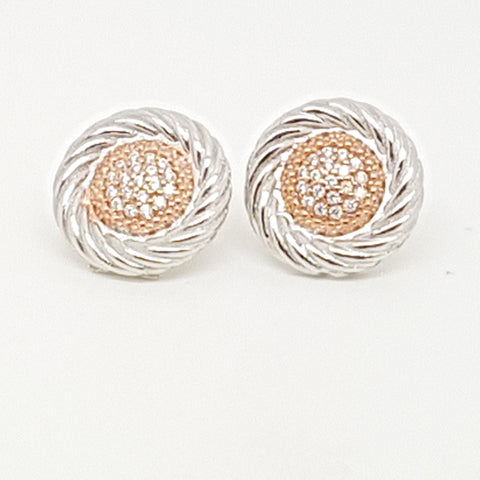 Sterling silver round rope edge studs with Rose gold tone Pave CZ set centre 33624