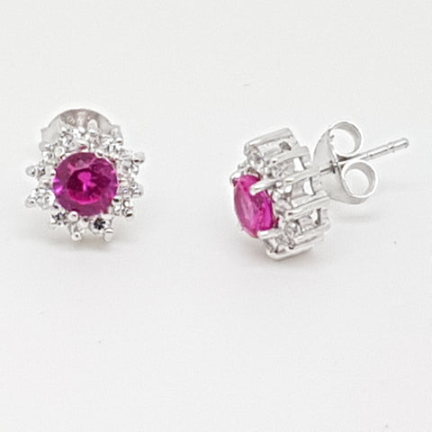 10mm Ruby CZ cluster sterling silver earring 33628