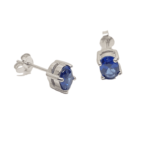 5x7mm oval Sapphire Cubic Zirconia four claw stud earring in sterling silver 33992