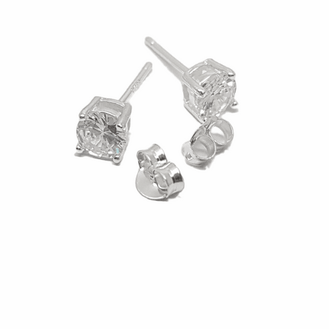 5mm Cubic Zirconia four claw stud earring in sterling silver 33988
