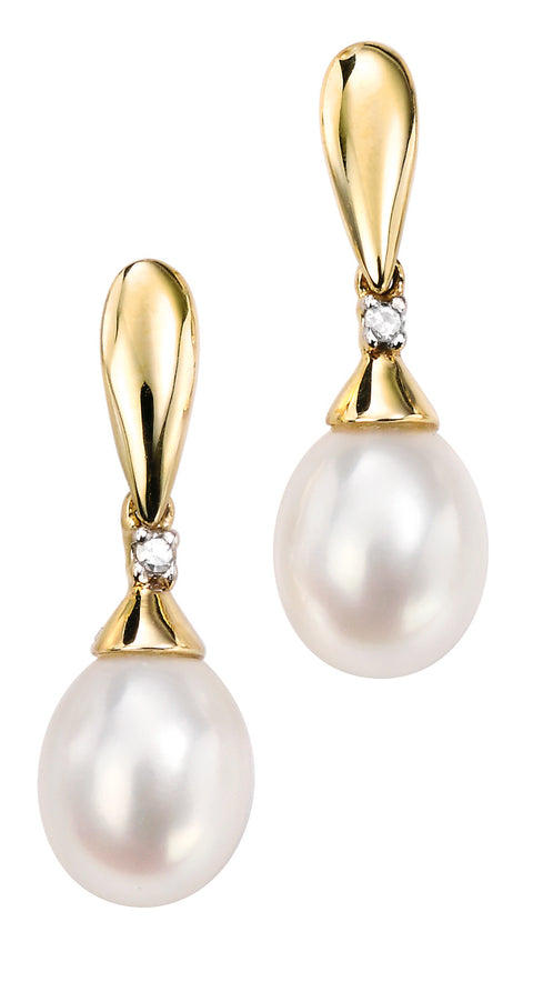 9ct Yellow Gold Diamond & freshwater pearl Ladys Earring 32018 - Armin Lowe Jewellers Sligo