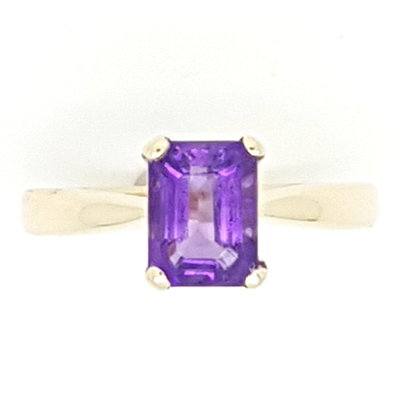 9ct Yellow Gold Amethyst Ladys Ring 33735
