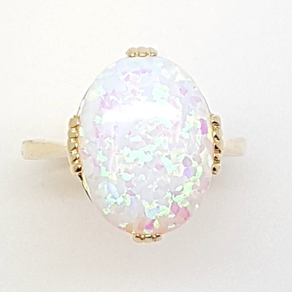 9ct Yellow Gold Syn Opal Ladys Ring 33737