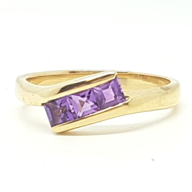9ct Yellow Gold Amethyst Ladys Ring 33488