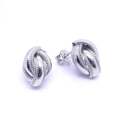 Sterling Silver Earring, Sterling silver roped edge crossover stud earring 32387 - Armin Lowe Jewellers Sligo