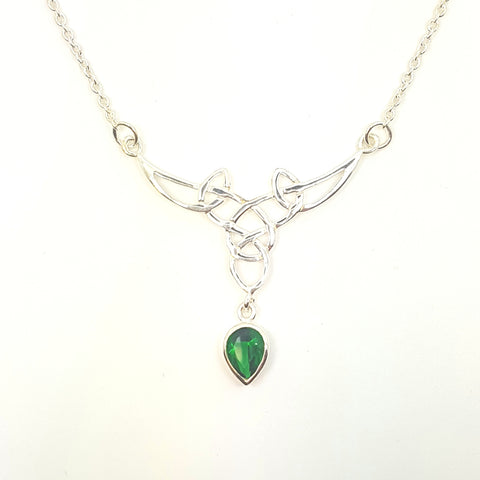 Sterling silver Celtic necklet with Emerald green CZ tear drop, adjustable 33414