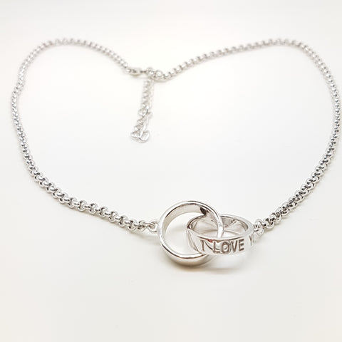 "Sterling silver I LOVE YOU bell link double ring necklace, adjustable 16""/41cm 18""/46cm 33600"