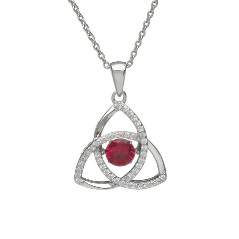 "Sterling silver micro pave set Celtic Trinity Knot with light red dancing stone in centre, on 18""/46cm chain 33013"