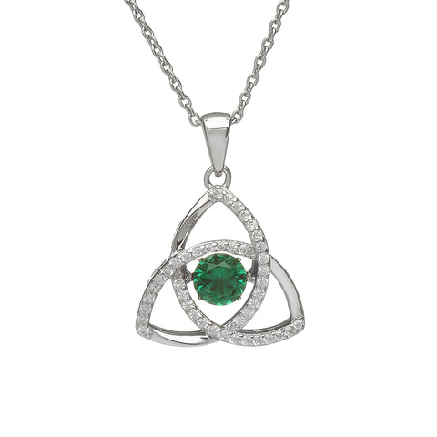 "Sterling silver Celtic Trinity Knot green dancing stone in centre, on 18""/46cm chain 32650"