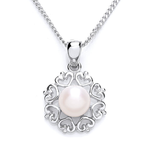 "Sterling silver rhodium finished pendant set with freshwater cultured pearl, on 18""/46cm chain 31122"