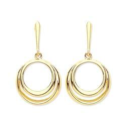 9ct Yellow Gold Earring, 9ct gold drop circles earrings, French fitting 31103 - Armin Lowe Jewellers Sligo