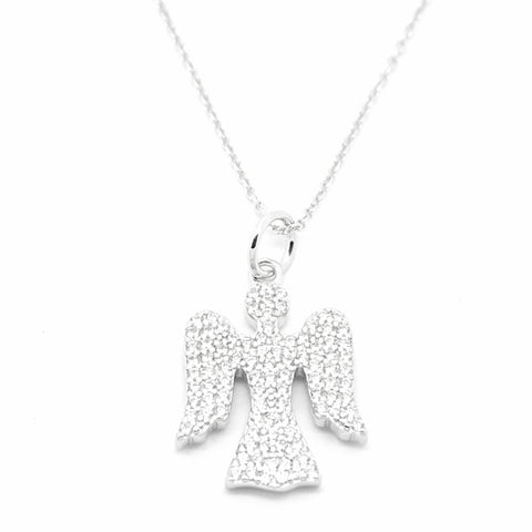 "sterling silver CZ set angel pendant on 16""/41cm chain 33905"