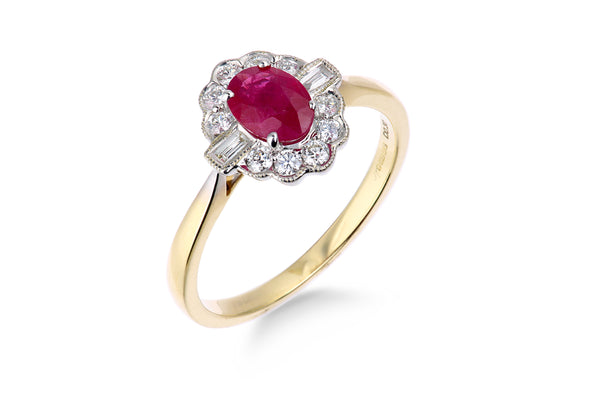 9ct Yellow Gold Diamond/Ruby Ladys Ring 32304