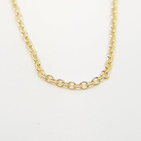 "9ct gold trace link chain 18""/46cm, 1mm wide. 33678"