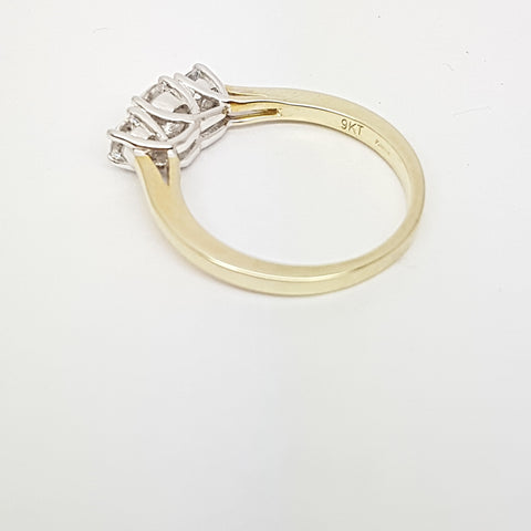 9ct Yellow Gold  CZ Trilogy Ring 34037