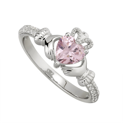 Sterling silver Claddagh birthstone ring, OCTOBER - Armin Lowe Jewellers Sligo