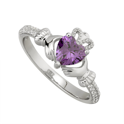 Sterling silver Claddagh birthstone ring, FEBRUARY - Armin Lowe Jewellers Sligo