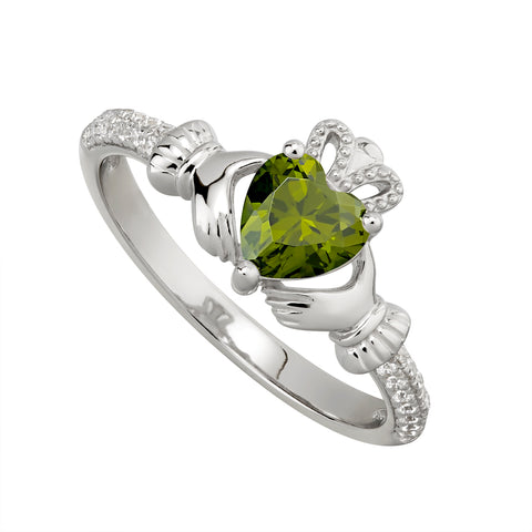Sterling silver Claddagh birthstone ring, AUGUST - Armin Lowe Jewellers Sligo