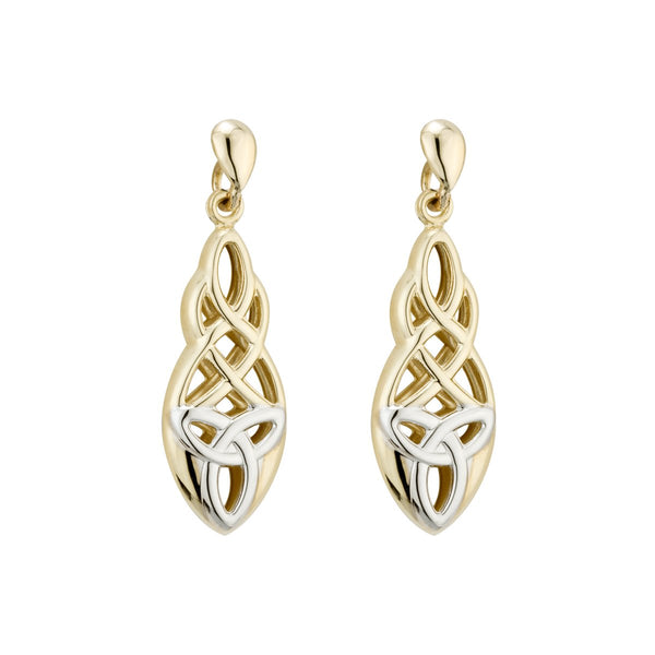 9ct Yellow Gold Earring, 9ct gold two tone Celtic drop earrings, Celtic interlace culminating in a Trinity knot, French butterfly fitting. 25552 - Armin Lowe Jewellers Sligo
