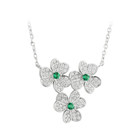 Sterling silver cubic Zirconia cluster Shamrock pendant on chain 26312
