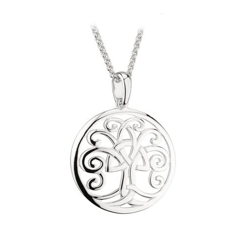 "Sterling silver 25mm circular open work Celtic Trinity Knot Tree of Life on 18""/46cm chain 33211"