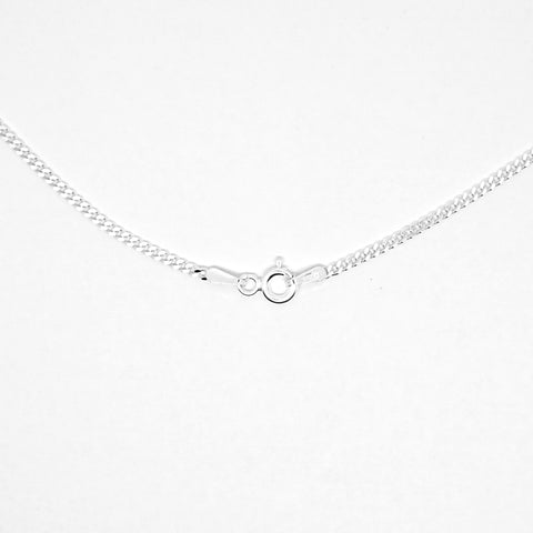 "Sterling silver 16"" filed flat curb link pendant chain 27535"