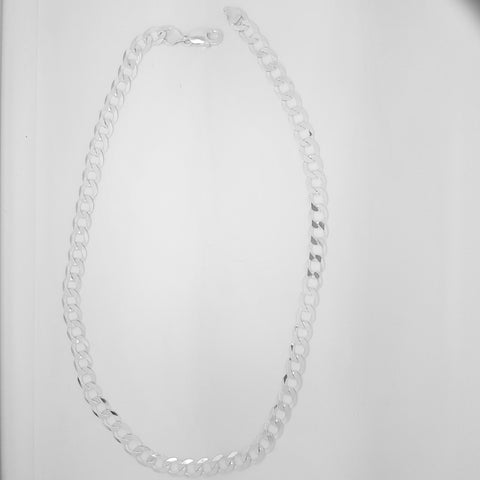 "22""/56cm diamond cut bevelled edge gents curb link 8mm wide chain in Sterling silver 33933"