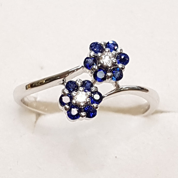 9ct White Gold Ring, 9ct white gold double cluster crossover dress ring, diamond (0.05ct) and sapphire (0.35ct) ring 30327
