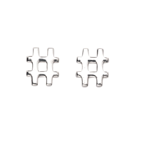 Sterling silver Hash tag # stud earrings 31879