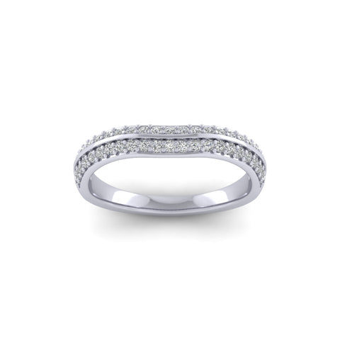 9ct White Gold 2 row Ring 32259