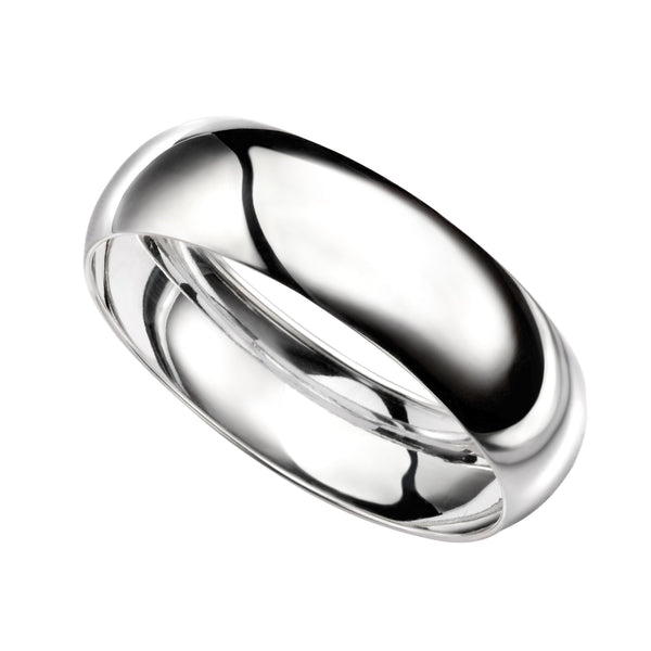 Sterling Silver Bangle, Sterling silver plain D shape bangle (31336) - Armin Lowe Jewellers