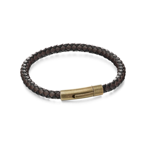 Leather + Steel Bracelet, Brown woven leather + stainless steel mans bracelet (32809) - Armin Lowe Jewellers